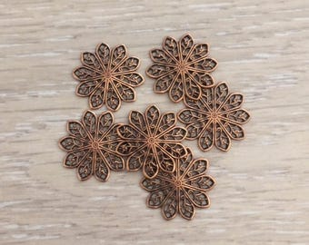Filigree Flower Stamping, 20mm, Copper Stampings, Brass Stampings