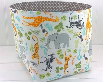 Storage Basket Elephant Nursery Decor Fabric Basket Baby Shower Gift Animals Safari Jungle Giraffe Elephant Orange Gray - Large 10 x 10