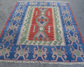 free shipping VINTAGE TURKİSH ousak kilim Anatolian handwoven kilim rug decorative kilim - SİZE : 83'' X 120'' ( 208 cm X 300 cm)