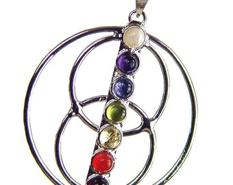 "Silver Circles within a circle 7 Chakra Gemstone Pendant 24"" chain 5409K"