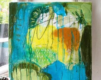 My garden - abstract painting 40x40cm / Оriginal mixed media art / acrylic on canvas