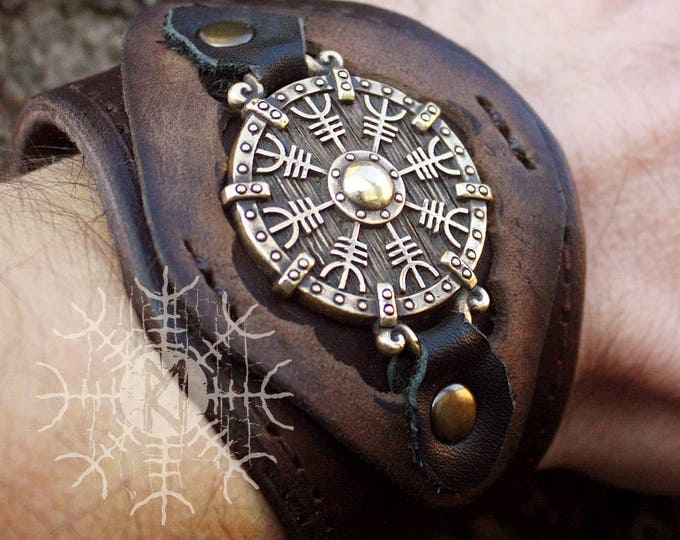 NEW ITEM! ~ Bronze Aegishjálmur Helm of Awe Futhark Vikings Amulet Pendant Talisman Leather Bracelet