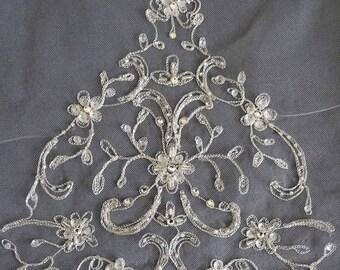 Beaded Wedding Veil, Embroidered Beaded Veil, Silver Beaded Veil, Elbow Length Veil, Ivory Veil, Bridal Veil, Wedding Veil