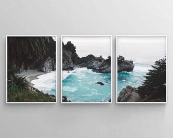 Set of 3 Tropical Printable, Teal Wall Art, Coastal Print Set, Beach Wall Art, Large Wall Art, Modern 3 Piece Poster, Beach House Decor Art