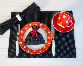 Polka Dot Placemat, Black White Cotton Place Mat, Handmade Linens, Dotted Table Top, Rectangle Shaped