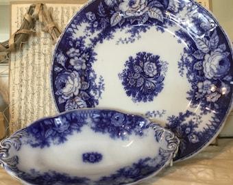 2 Antique meat Plates 24/28.5 cm, Boch Freres ca. 1870, Flow Blue