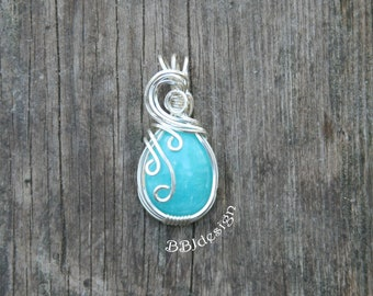 Amazonite Gemstone Cabochon Pendant Necklace Sterling Silver Wire Wrapped