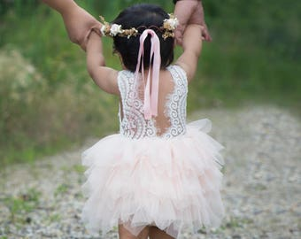 White Lace Flower Girl Dress, Blush Pink Tulle Wedding dress, White Wedding, Tutu Dress, Boho Chic, Country, Couture, Pearl Bead Detail