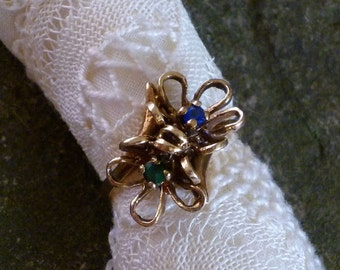 10K Gold Floral Filigree Sapphire Emerald Ring , Size 6
