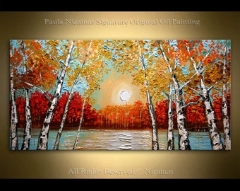 Modern oil Painting - Lake - Original on canvas contemporary style, luxury looks, Paula Nizamas