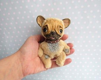 FRENCH BULLDOG ooak Art Doll Frenchie Art toy Dog Plushie. Blythe Friend,Blythe Toy.