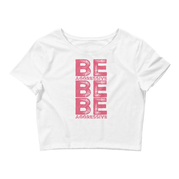 Women's Crop Top Tee  Be Agressive  Cute Cheerleading Gifts
