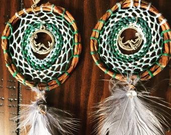 Embroidered mermaid earrings