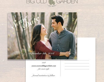Lily & Fred - Customizable Printable Postcard Save The Date Template (PSD) - 4x6 or 5x7
