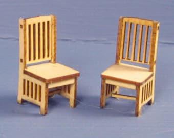 1:48 Dollhouse Miniature Country Chairs (2) KIT / Quarter Inch Scale Chair KBM Q100A