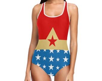 Wonder Woman débardeur maillot de bain | Justaucorps de danse | Caractères gras imprimé graphique | Design moderne | Une seule pièce nager porter patinage | Taille XS S M L XL 2XL 3XL