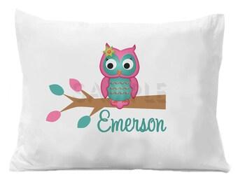 Owl Pillowcase, Personalized Owl Pillow Case