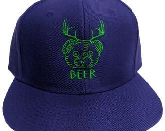 Beer Bear Deer Antlers Embroidered Purple 6-Panel Hat/Cap