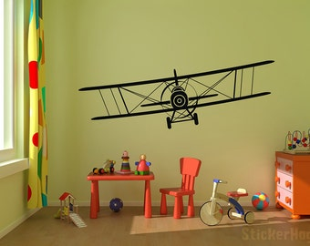 "Biplane Airplane Vinyl Wall Decal Graphics 25""x7"" Bedroom Decor"