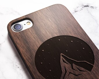 Real Wood iPhone 8 mountain case also for X SE 5s 5 6 6s 7 and 7 Plus 8 Plus Case iPhone 8 Case Samsung Galaxy S6 S7 S8 Plus Real Wood