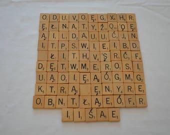 last chance Vintage SCRABBLE wood letter tiles 95 dated 1953