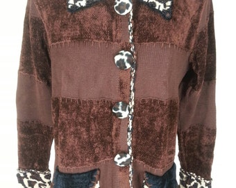 Vtg Berek brown leopard beaded cardigan knit sweater size small chest 38 relaxed