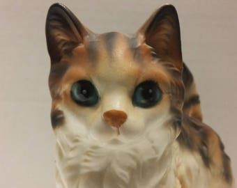 Vtg Lefton Made In Japan Porcelain Calico  Cat Figurine H6364 With Colors of Brown, White And Orange