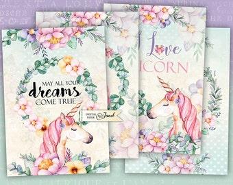 Unicorn Cards - digital collage sheet - set of 4 cards - Printable Download