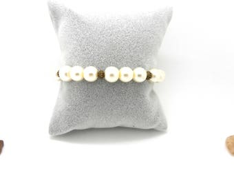 Fashion bracelet White Pearl and bronze