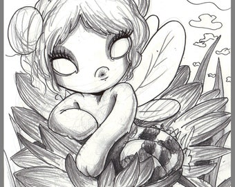 Day #247 - Bee Patient - kawaii bee girl -  original sketch a day drawing! 5.5 x 8.5