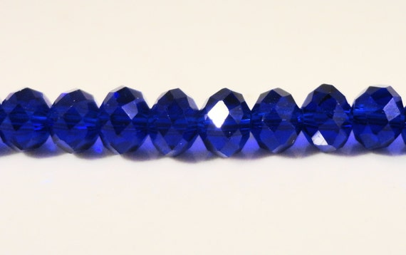 Blue Crystal Beads 6x4mm (4x6mm) Royal Blue Faceted Rondelle Chinese Crystal Glass Beads on an 8 1/4 Inch Strand with 49 Beads