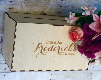 Rustic Wedding Decor, Wedding Card Box, Personalized Card Box, Card Box for Wedding, Card Box with Slot, Rustic Wedding Card Box Card Holder