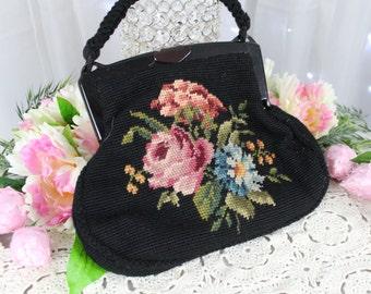 Vintage Tapestry Black and Floral 1950's Hand Bag, Carpet Bag,Steampunk Carpet Bag,Antique Purse,Chenille Carpet Bag,Vintage Handbags/Purse