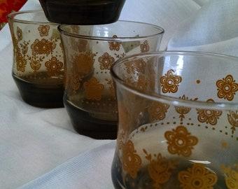 Mid century juice glasses/set of 4/retro/brown glasses