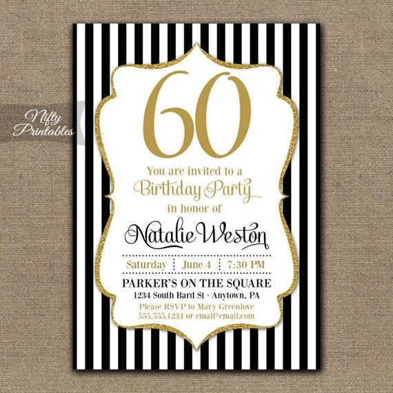 60th birthday invitations black gold glitter 60 bday filmwisefo