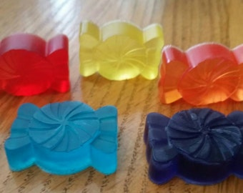 Set of 6 Mini Candy kids soap, Handmade Kids glycerin soap, Kids Soaps, Party Fun, Whimsical Soap, Party Favors, Custom Colors, Novelty Soap