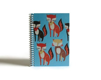 Red Foxes Notebook A6 Spiral Bound - Red Foxes Bunch, Blank Sketchbook, Writing Journal, Blue Red, Cute Gifts Under 20, Back to School