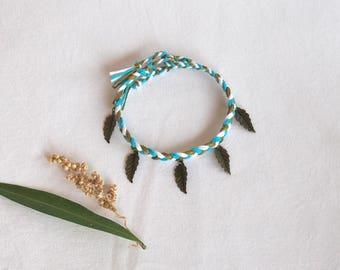 Braided ankle bracelet hippie jewelry brass leaves charms boho Brasilda foot