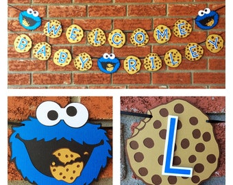 """Sesame Street Cookie Monster """" Welcome baby """"name banner / Baby shower  / Boy or girl baby shower  /Sesame Street baby / milk and cookies"""