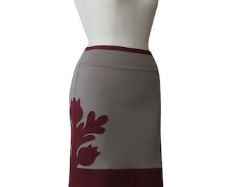 Pencil Skirt with applique, Custom jersey skirt, Knee length Custom skirt, Pencil skirt Plus size Clothing, Elastic waist Plus Size Skirt