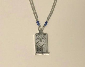 Doctor Who Inspired Tardis Police Box Couple or Best Friend Necklace Set