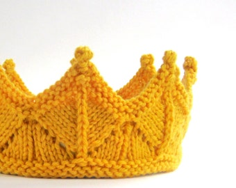 Lace Knit Crown Headband for Dress Up and Pretend Play in Golden Yellow Lace