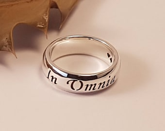 Gilmore Girls Ring, In Omnia Paratus, Ready for Anything, Latin quote, Life and Death Brigade, Strength, 925 sterling silver, Handmade