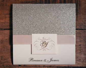 Blush And Gold Invitations, Blush And Gold Wedding Invitations, Blush And Gold Invitation, Glitter Invitations, Glitter Wedding Invitation