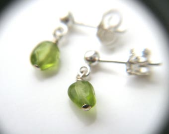 Green Peridot Earrings Studs . Peridot Post Earrings . Genuine Peridot Earrings Sterling Silver . August Birthstone Jewelry