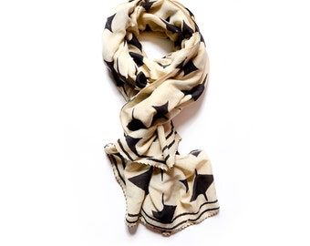 scarf SAMPLE SALE scarf hand printed hand dyed boho Geo Diamond scarves natural dye Cotton/Silk scarf women accessories scarves - SPARKLE
