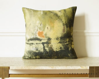"""Yellow abstract pillow 18"""" square cushion cover.  Vintage inspired... / RETRO-MODERNE"""