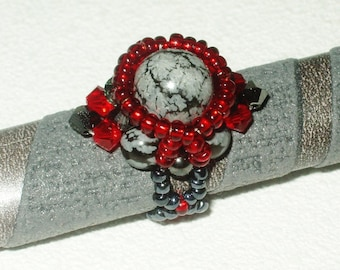 Gray and red ring with natural marble beads