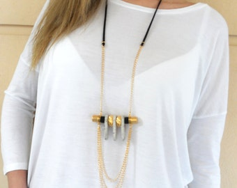 Long statement necklace, white ceramic beads, tooth, black climbing cord, suede cord, metallic beads, gold plated, gift, trendy, women, chic
