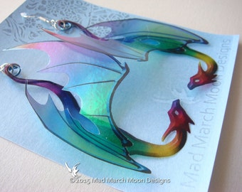 Dragon Rainbow Earrings, iridescent acetate earrings, pierced ear hook, latch back  or clip on